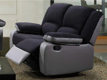 Canapé 2 places relax en microfibre et simili BILSTON II - Noir et gris