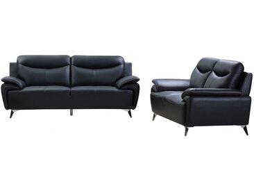 Canapé 3+2 places QUIRIN en cuir de buffle supérieur - Noir et passepoil anthracite
