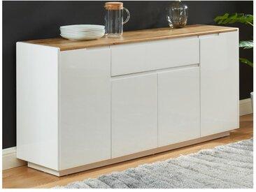 Buffet AMANI -  4 portes & 1 tiroir - MDF laqué Blanc - Coloris: Blanc et Chêne