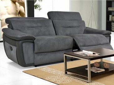Canapé 3 places relax en microfibre et simili PARUA  - Gris et bandes anthracites