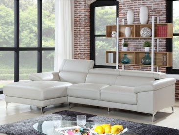 Canapé d'angle en cuir SOLANGE - Blanc - Angle gauche