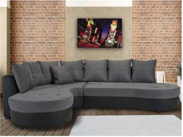 Canapé d'angle bimatière STEPHANIE - Bicolore noir et gris - Angle gauche