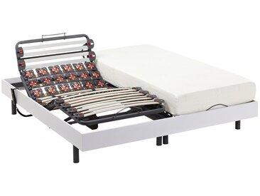 Ensemble relaxation lattes et plots - HEDONA de NATUREA - moteurs OKIN - blanc - 2x90x200cm