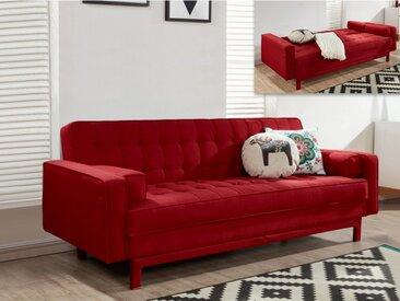 Canapé clic-clac en tissu ELEANOR - Rouge bordeaux
