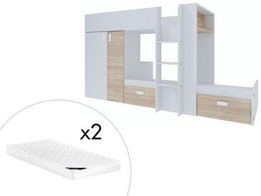 Lits superposés JULIEN - 2x90x190cm - Armoire intégrée - Blanc et chêne + matelas