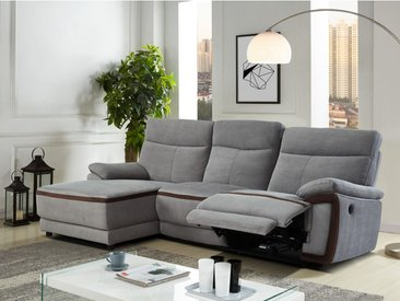 Canapé d'angle relax électrique en tissu PROVO - Gris et bandes chocolats - Angle gauche