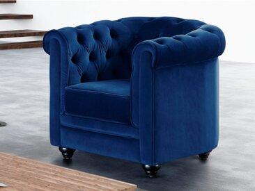 Fauteuil CHESTERFIELD - Velours bleu roi