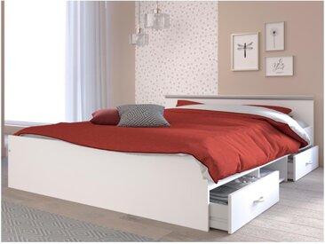 Lit PABLO avec rangements - 2 tiroirs et 1 niche - 140 x 190 cm -  Coloris : blanc