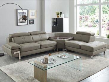 Canapé d'angle en cuir SLOANE - Taupe - Angle droit