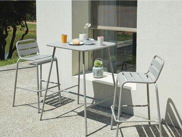 Bar de jardin et 2 chaises de bar empilables MIRMANDE en métal - Gris