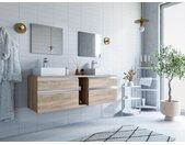 Ensemble de salle de bain suspendu avec double vasque et miroirs MAGDALENA - couleur chêne
