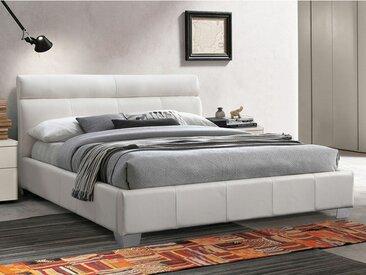 Lit WANDA - 160x200cm - Cuir de buffle - Blanc