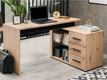 Bureau d'angle DEVEN avec rangements - 3 tiroirs - Coloris : Chêne et noir
