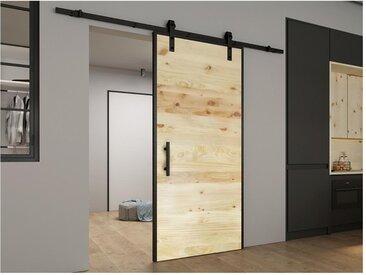 Porte coulissante en applique - RUSTIC - H205cm x L83cm - Bois de Pin