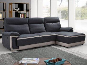Canapé d'angle relax électrique en tissu PROVO - Anthracite et bandes beiges - Angle droit