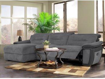 Canapé d'angle relax en microfibre et simili PARUA - Gris et bandes anthracites - Angle gauche