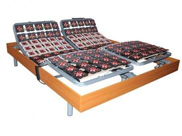 Sommier électrique de relaxation 2x91 plots déco bois merisier de DREAMEA - 2x100x200cm  - moteurs OKIN