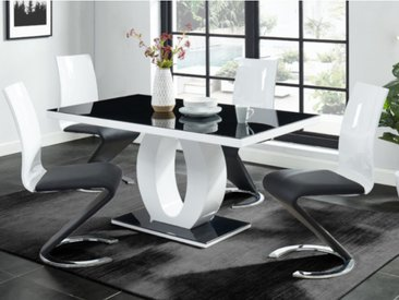 Ensemble Table + 4 chaises TWIST - Noir & blanc