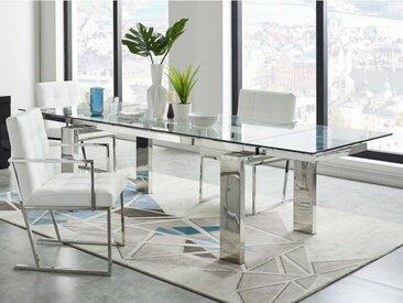 Table à manger extensible LUBANA - Verre trempé & métal - 8 à 10 couverts