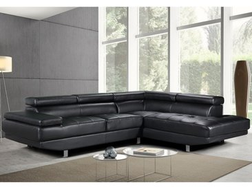 Canapé d'angle en cuir DUNCAN - Noir - Angle droit