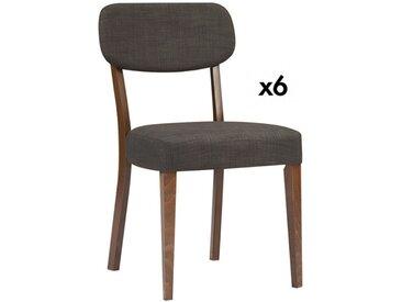 Lot de 6 chaises RUBBEN - Hêtre et tissu - Coloris : noyer et gris