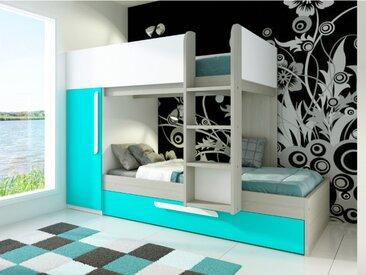 Lits superposés avec tiroir lit gigogne ANTONIO - 3x90x190cm - Armoire intégrée - Pin turquoise et blanc