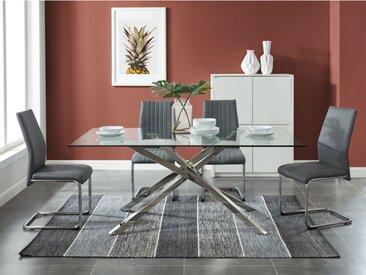 Table à manger GLENDA - 6 couverts - Verre trempé et Acier