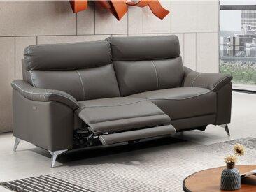 Canapé 3 places relax électrique en cuir METRONOMY - Taupe