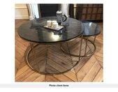 Tables basses gigognes ANGELA - Marbre noir et métal doré
