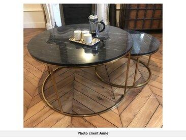 Tables basses gigognes ANGELA - Marbre noir & métal doré
