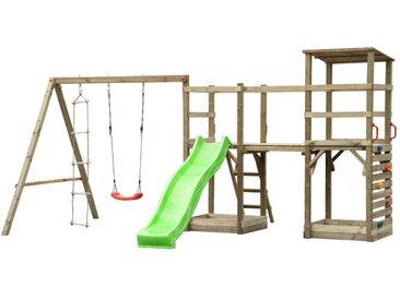 Aire de jeux en bois avec toboggan, balançoire, échelle, mur d'escalade, tour et 2 bacs à sable REDWOOD - L465xP340xH240 cm