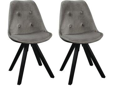 NEW - Lot de 2 chaises scandinaves ANEYA - Velours & Pieds Hévéa - Crème - Ref : WH-1509-3 - PA : 20,3