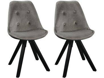 Lot de 2 chaises scandinaves ANEYA - Velours & Pieds Hévéa - Gris