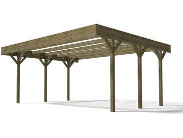 Carport double DAVOS en bois traité classe III - surface 30.6 M²