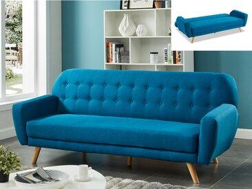 Canapé 3 places convertible clic-clac en tissu LELIO - Bleu