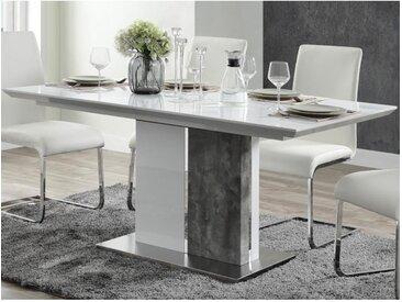 Table à manger extensible EREN - 6 à 8 couverts - MDF - Coloris : Blanc et béton