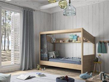 Lit cabane NATHAN avec tableau en ardoise et rangements - 90 x 200 cm - Coloris : Chêne