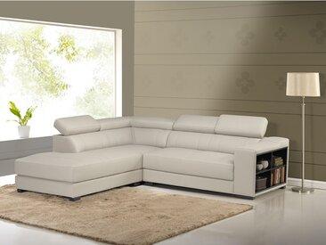 Canapé d'angle cuir LEEDS - Beige - Angle gauche