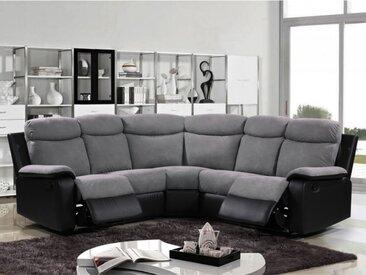 Canapé d'angle relax en microfibre et simili BILSTON - Gris et noir