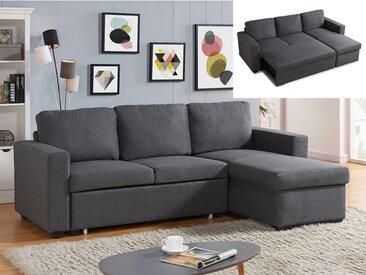 Canapé d'angle convertible et réversible en tissu TIRUA - Gris