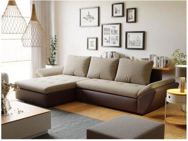 Canapé d'angle convertible réversible en tissu et simili CARRY - Marron foncé et beige