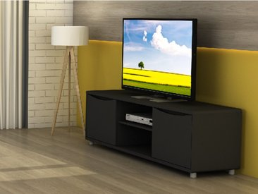 Meuble TV SORRISO - Noir - 2 portes & 2 niches