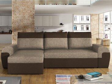 Canapé d'angle réversible et convertible en tissu GABY - Bicolore marron / beige