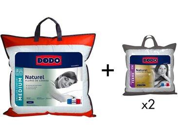 Pack DODO couette 240 x 260 cm + 2 oreillers NATUR 65 x 65 cm - 50% duvet naturel