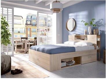Lit LEANDRE avec tête de lit rangements et tiroirs - 160x200 cm - Coloris : Chêne