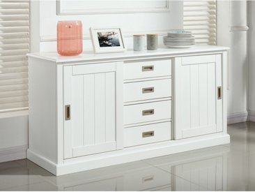 Buffet GUERANDE - 2 portes & 4 tiroirs - Pin blanc