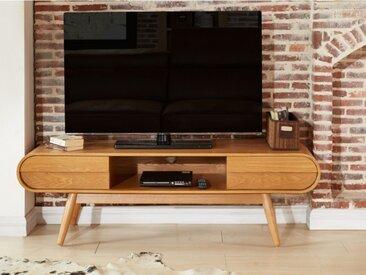 Meuble TV DAVEN - 2 tiroirs & 1 niche - Pieds frêne - Coloris Naturel