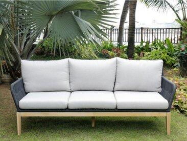 Canapé 3 places de jardin KOLOA en acacia et cordes - Assise gris clair