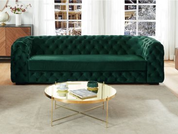 Canapé 3 places chesterfield STANLEY - Velours vert sapin