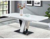 Table à manger extensible WESTON - 6 à 8 couverts - MDF & Verre - Noir & Blanc